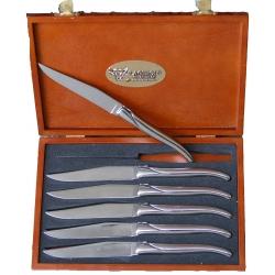 Набор из 6 столовых ножей/Рукоятка - нержавеющая сталь/Ручная работа