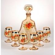 Набор 7 предм. 6 бокалов для бренди + штоф «Цветы»