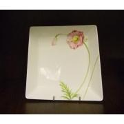 Салатник квадратный L «Розовый мак»