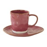 Чашка с блюдцем (тём.малиновый) Interiors без инд.упаковки