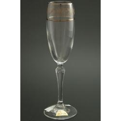 Бокал для шампанского 160 мл «Люция» панто виноград +втертое золото + платиновая кайма над и под декором