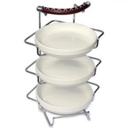 Подставка с 3-мя фарфоровыми салатниками 32х20х19 см
