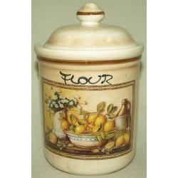 Банка для сыпучих продуктов с керамической крышкой (мука) «Лимоны» 1,0 л