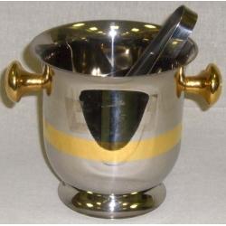 Ведерко для льда со щипцами с золотой отделкой