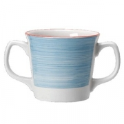 Кружка 2ручки «Рио Блю»; фарфор; 285мл; белый,синий