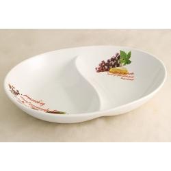 Блюдо овальное 2-х секционное (большое) «Сыр, вино и виноград» 30х23 см