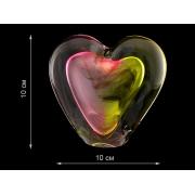 Скульптура для интерьера сердце красно-желтое среднее 10х10см