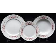 Набор тарелок для сервировки стола 18 шт «Роза серая 5396011»