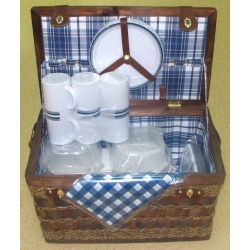 Набор для пикника из коричневого бамбука на 6 персон (синяя клетка)