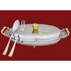 Блюдо с ручками, с крышкой, с ложкой и вилкой 53х21см в дер коробке «Кентиа»