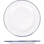 Тарелка мелкая эмалиров. D=20см; белый, синий