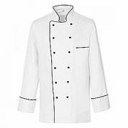 Куртка поварская с окант.48р.б/пуклей, полиэстер,хлопок, белый,черный