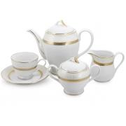 Сервиз чайный 12 перс 41 пр Бежевый с золотом