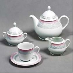 Чайный сервиз «Яна» 6/9; декор «Серый мрамор с розовым кантом»