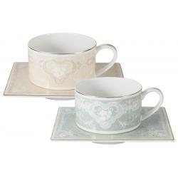 Набор: 2 чашки + 2 блюдца для чая (роз. и голуб.) Инфанта