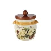 Банка для сыпучих продуктов с деревянной крышкой (сахар) Роза и малина
