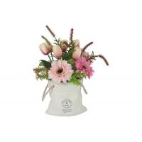 Декоративные цветы Герберы розовые и тюльпаны в керамической вазе