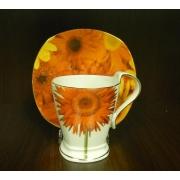 Чашка 220мл с блюдцем 16см «Гербера»