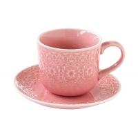 Чашка с блюдцем (розовая) Ambiente без инд.упаковки