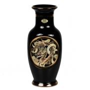 Ваза 20 см черная с горлом Золотой дракон (black)
