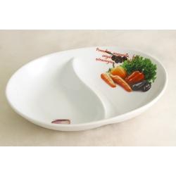 Блюдо овальное 2-х секционное (большое) «Овощное ассорти» 30х23 см