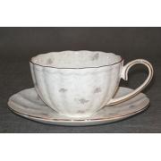 Н 1040011 Вуаль набор чашек чайных 250мл с блюдцем 6/12 (золотая лента)
