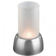 Подсвечник + свеча, стекло,сталь нерж., D=95,H=150мм