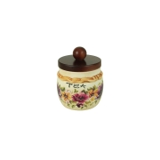 Банка для сыпучих продуктов с деревянной крышкой (чай) Мелодия