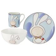 Набор из 3-х предметов Зайчонок: кружка, тарелка, миска