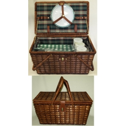 Набор для пикника из темного бамбука на 6 персон (зеленая клетка)