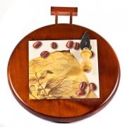 Набор для сыра ( доск дерев с керам. втавкой+ нож) 25x25