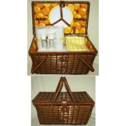 Набор для пикника из темного бамбука на 6 персон (апельсин)