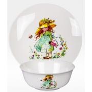Набор из двух предметов: Тарелка + салатник «Девочка с куклой»
