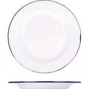 Тарелка мелкая эмалиров. D=26см; белый, синий