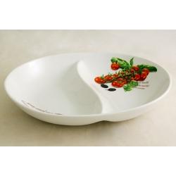 Блюдо овальное 2-х секционное (большое) «Помидоры и оливки» 30х23 см