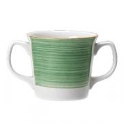 Кружка 2ручки «Рио Грин»; фарфор; 285мл; белый,зелен.