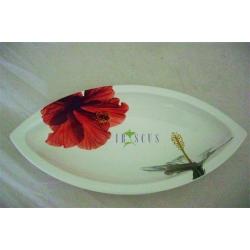 Овальное блюдо 32 см «Гибискус»