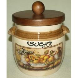 Банка для сыпучих продуктов с деревянной крышкой (сахар) «Лимоны» 0,75 л