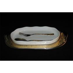 Блюдо овальное с фарфоровой вставкой с ложкой и вилкой «Dubai Gold»