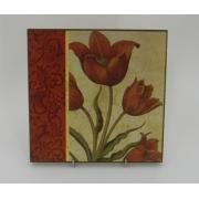 Картина без рамки «Тюльпан с декором слева» 20*20