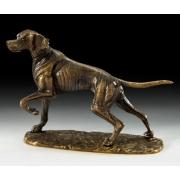 Собака охотн. на подставке цвет - каштан 20х23см