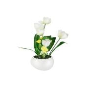 Декоративные цветы Тюльпаны белые в керамической вазе