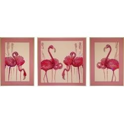 Фламинго триптих, 120*50 см, 5042 кристаллов