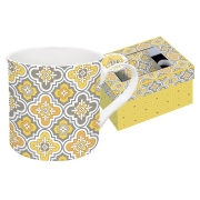 Кружка Цветовая палитра (жёлтая, узор) в подарочной упак.