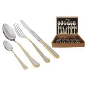 Набор столовых приборов 24 предмета на 6 персон «Falperra Gold» в деревянной коробке.