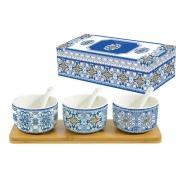 Набор для закуски: 3 салатника с 3 ложками на подносе Майолика (голубая) в подарочной упак.