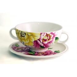 Суповая чашка на блюдце «Японские пионы» 0,5 л