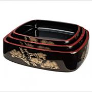 Блюдо-барабан для суши пластик; H=60,L=265,B=265мм; коричнев.,золотой