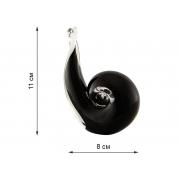 Скульптура для интерьера улитка черная 11х8см