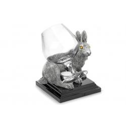 Бокал для коньяка с подогревателем на подставке «Кролик» серебряный